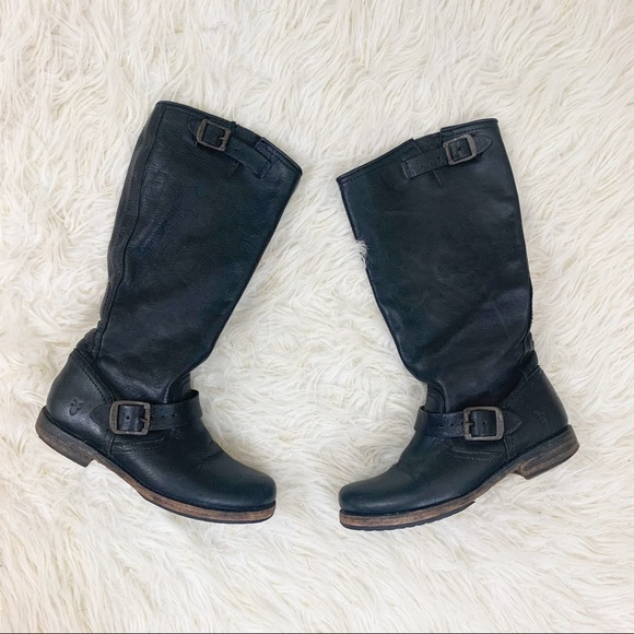 Black Veronica Slouch Motorcycle Boots